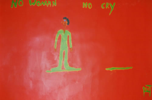 Picture of the painting: 'No Woman No Cry - Pronouncement of singer Bob Marley.'