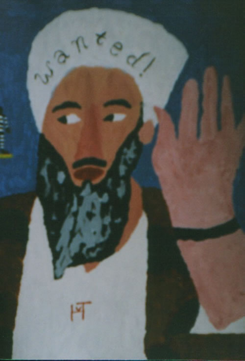 Picture of the painting: 'Wanted! - Osama bin Laden'