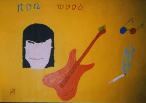 Picture of the painting: 'Ron Wood - Guitar player of the Rolling Stones.'
