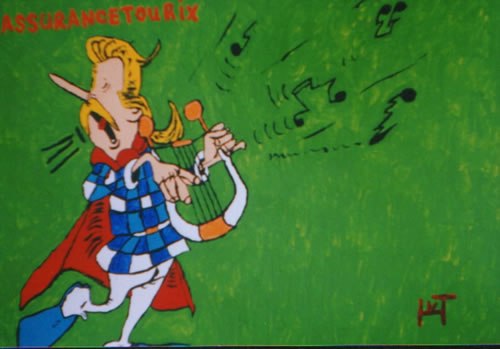 Picture of the painting: 'Assurancetourix - A bad singer and harpplayer.'