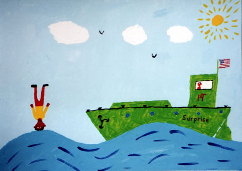 Picture of the painting: 'Surprise - Surrealistic painting of an American ship.'