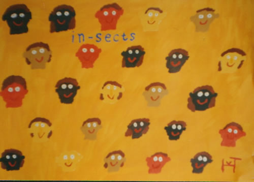 Picture of the painting: 'In-Sects - Some people are located in sects.'