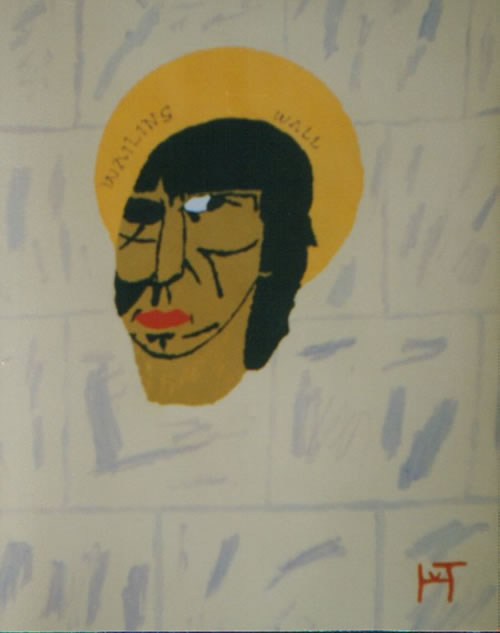 Picture of the painting: 'Wailing Wall - Roger Waters, singer of Pink Floyd, as a holy person.'
