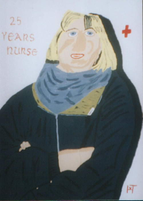 Picture of the painting: '25 Years Nurse - A nurse for psychopaths.'