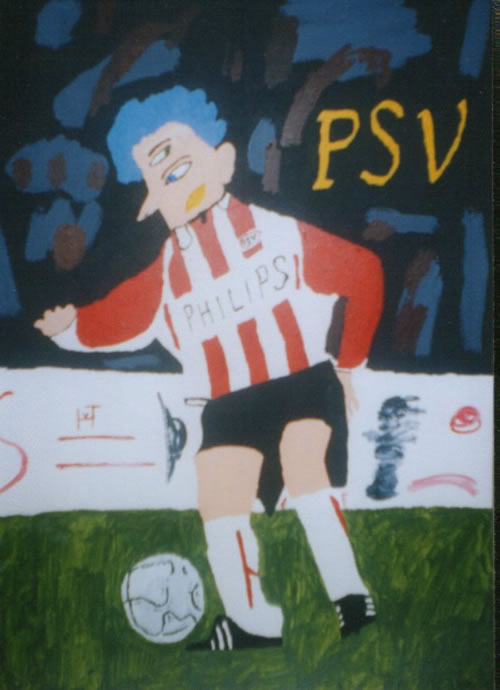 Picture of the painting: 'PSV - A footballer of PSV with a surrealistic head.'