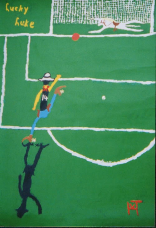 Picture of the painting: 'Lucky Luke - Number 14 shoots faster  than his shadow!'