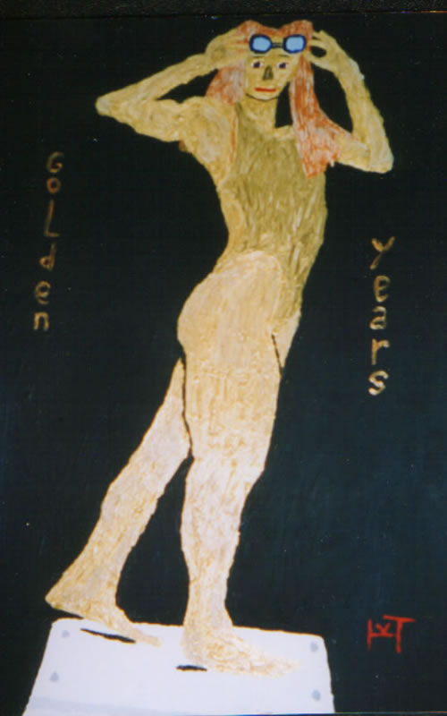 Picture of the painting: 'Golden Years - Inge de Bruyn, Dutch swimmer.'