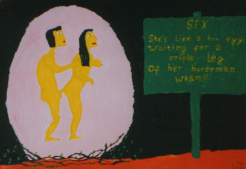Picture of the painting: 'Sex - Chinese couple in a pink egg.'