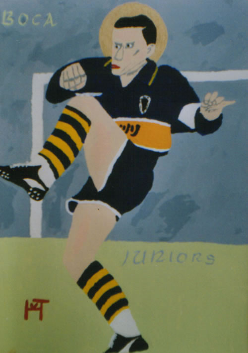 Picture of the painting: 'Boca Juniors - An icon of footballer Diego Maradona.'
