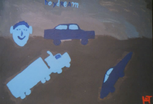 Picture of the painting: 'Boy Dream - Two cars and a truck.'