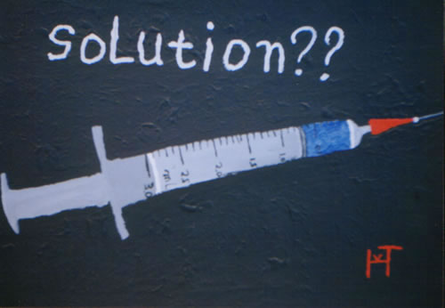 Picture of the painting: 'Solution?? - Medication and Heroin??'