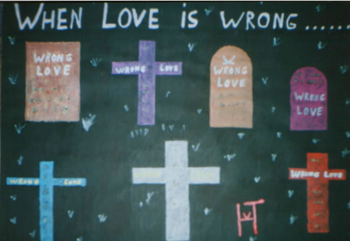 Picture of the painting: 'When love is wrong... - Gravestones'