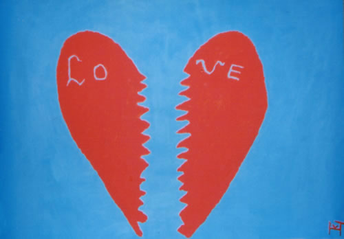 Picture of the painting: 'Lo ve - A broken heart.'