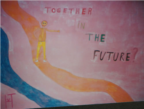 Picture of the painting: 'Together in the future? - A lonely man.'
