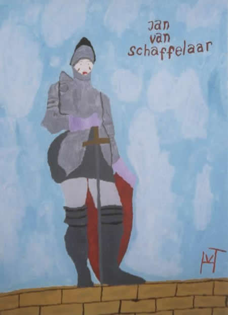 Picture of the painting: 'Jan van Schaffelaar - Jan jumped from a tower in Holland to save his soldiers!'