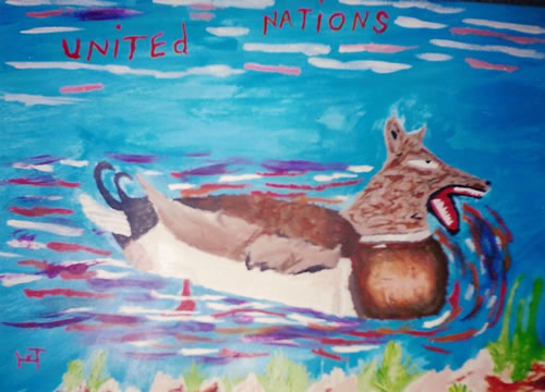 Picture of the painting: 'United Nations - A duck with the head of a sheep-dog.'