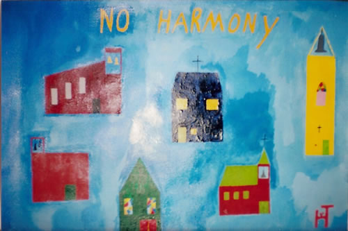 Picture of the painting: 'No Harmony - Quarelling churches.'
