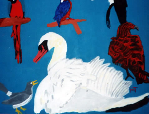 Picture of the painting: 'Jail - All kinds of birds.'