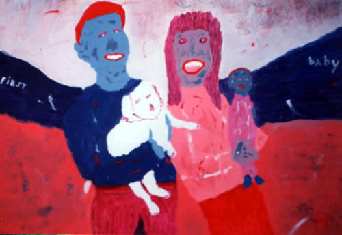 Picture of the painting: 'First Baby - A couple with a dog and baby.'