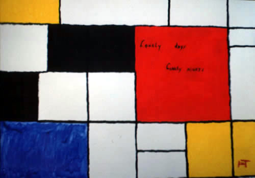 Picture of the painting: 'Lonely days Lonely nights - To painter Piet Mondriaan!'