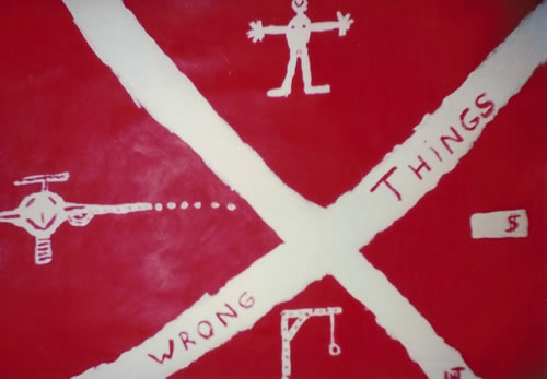 Picture of the painting: 'Wrong Things - A gun, a harlot, a dollar and the gallows!'