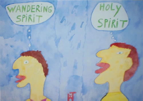 Picture of the painting: 'Wandering Spirit / Holy Spirit - Freedom or Religion?'
