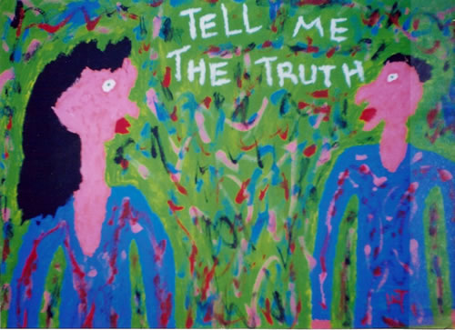 Picture of the painting: 'Tell me the truth - Talking with a liar.'