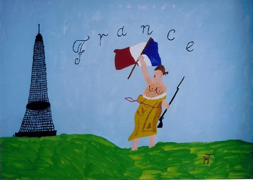 Picture of the painting: 'France - The Eiffel Tower and Revolution.'