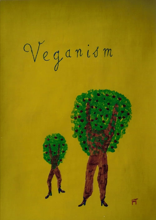 Picture of the painting: 'Veganism - Two trees with fruits like women!'
