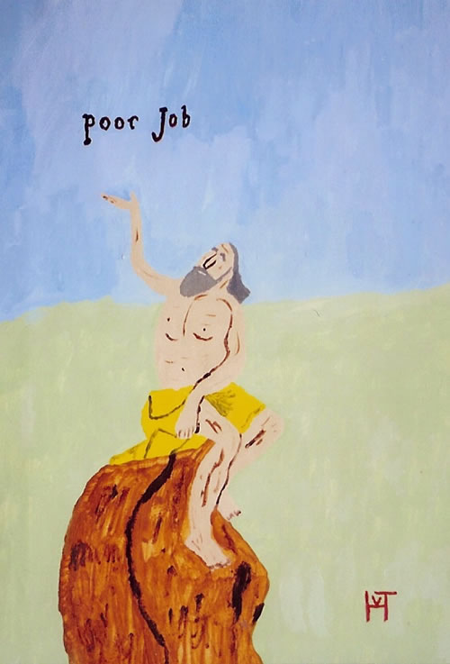 Picture of the painting: 'Poor Job - Job, from the bible, is sitting on a dunghill.'