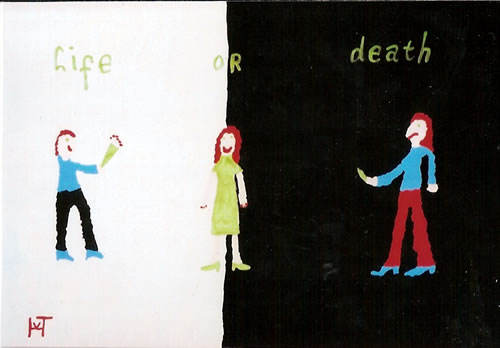 Picture of the painting: 'Life or Death - Peace or Violence?'