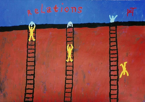 Picture of the painting: 'Relations - Three kinds of relations.'