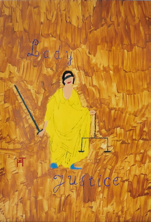 Picture of the painting: 'Lady Justice - the Roman Godess of Justice'