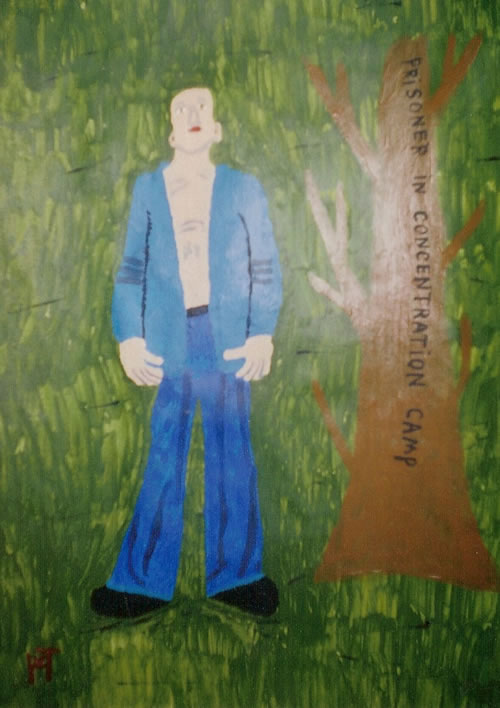 Picture of the painting: 'Prisoner - Prisoner in Concentration Camp.'