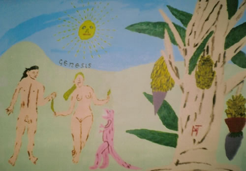 Picture of the painting: 'Genesis - Adam, Eve, a small dinosaur and a banana tree.'