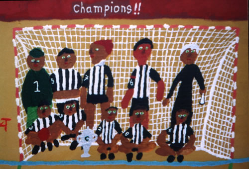 Picture of the painting: 'Champions!! - Indoor football.'