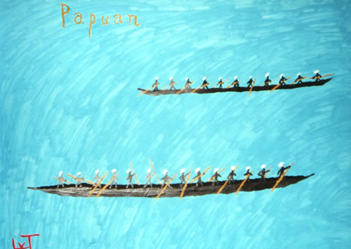 Picture of the painting: 'Papuan - Papuans in boats.'