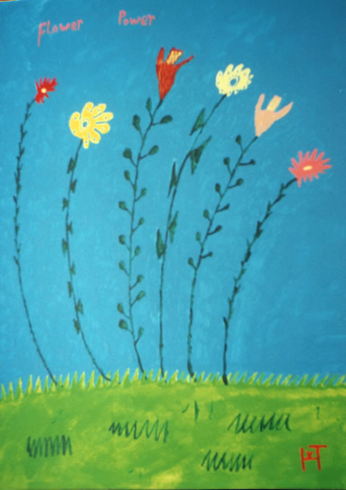 Picture of the painting: 'Flower Power - Time of the Beatniks (hippies)!'