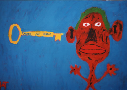 Picture of the painting: 'Chance for Change - A key and a lock!'