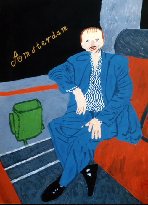 Picture of the painting: 'Amsterdam - A guy is sitting in the train to Amsterdam!'