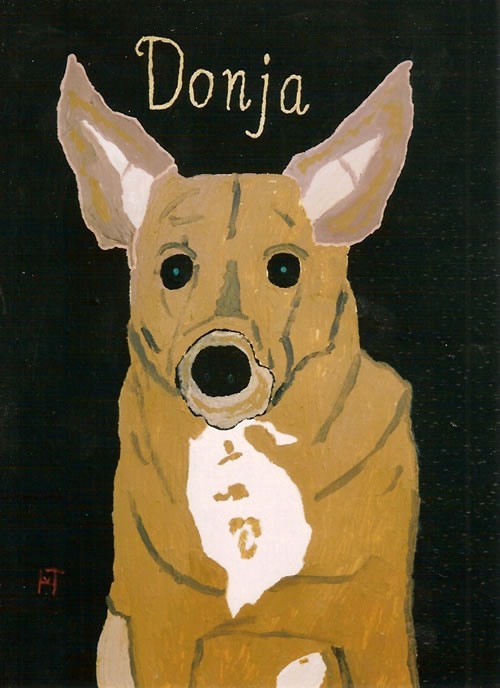 Picture of the painting: 'Donja - A lovely sheep-dog!'