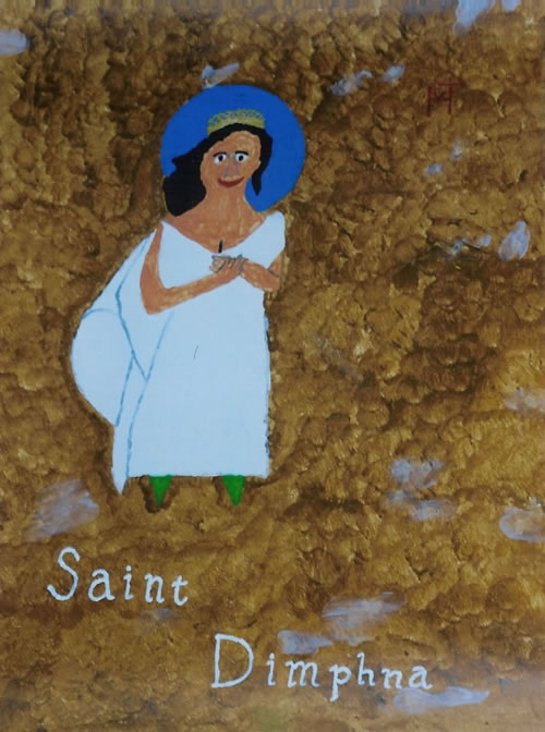 Picture of the painting: 'Saint Dimphna - The patroness of psychiatry!'