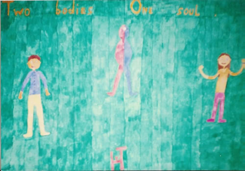 Picture of the painting: 'Two bodies One soul - God (JHWH), man and woman!'