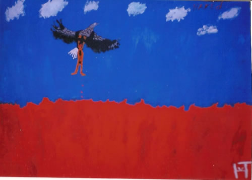 Picture of the painting: 'Saved - An eagle, a naked man and a sea of blood.'