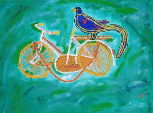 Picture of the painting: 'Art - Peacock on bike!'