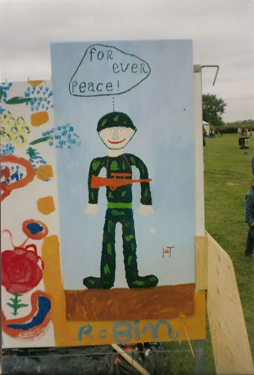 Picture of the painting: 'for ever peace - Armed soldier.'