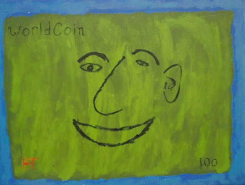 Picture of the painting: 'worldCoin - Green Face'