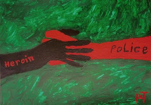 Picture of the painting: 'Heroin / Police - Friends?'