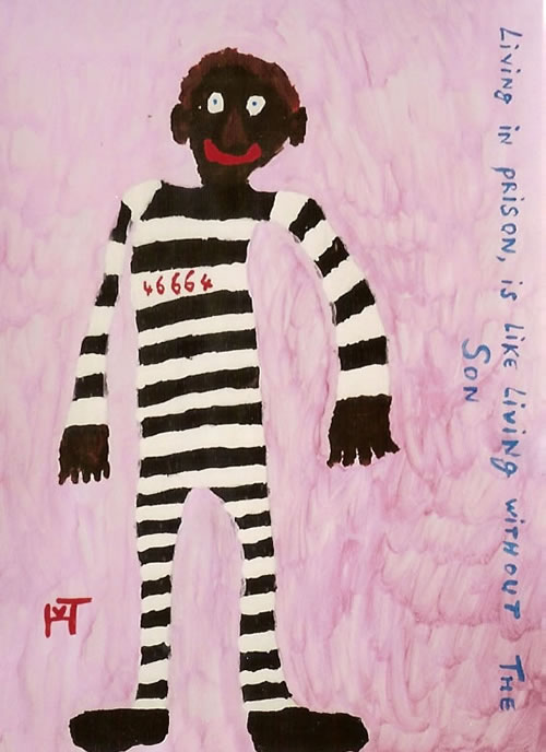 Picture of the painting: 'Nelson Mandela - And his prisoner number.'