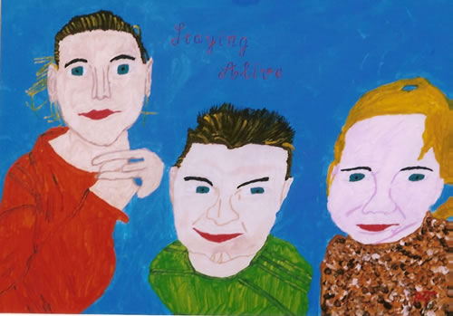 Picture of the painting: 'Staying Alive - Three kids of my workmate!'